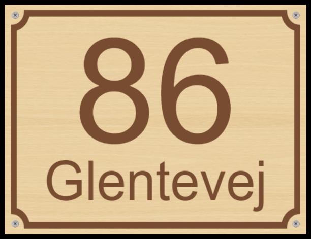 husnummerskilte som Træskilt